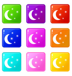 moon and stars icons 9 set vector image