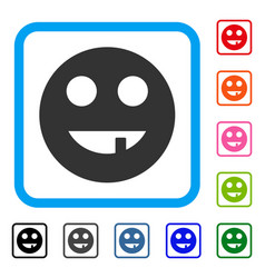 Tooth smiley framed icon vector