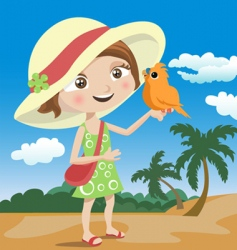 child and bird vector image
