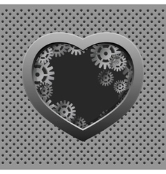 Metal heart with silver gears on the iron vector image