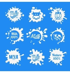Milk logo and labels designs with lettering vector