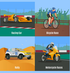 racing flat design concept vector image vector image