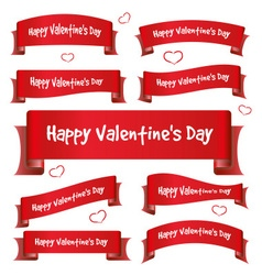red valentine day curved ribbon banners eps10 vector image