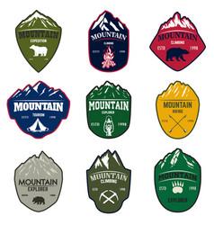 set of mountain tourism hiking emblems design vector image