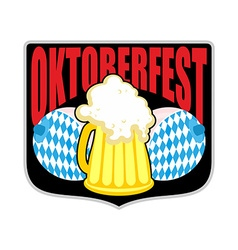 Sign logo for Oktoberfest Womens boobs and mug of vector image vector image