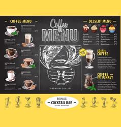vintage chalk drawing coffee menu design vector image vector image
