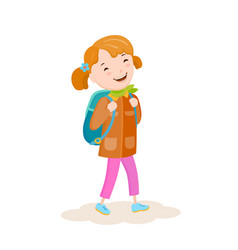 A small girl goes on a journey vector