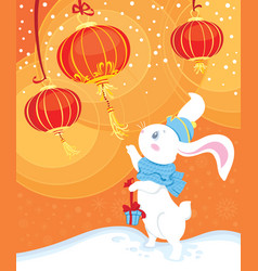 curiosity white rabbit and chinese lanterns vector image vector image