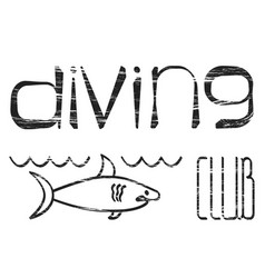 Design logo diving club vector