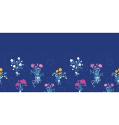 Fresh flower bouquets horizontal seamless pattern vector image