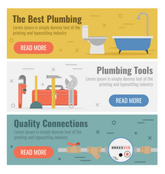 three banner for plumbing service vector image vector image