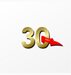 30 years anniversary celebration gold with red vector