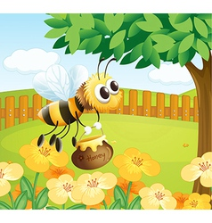 A bee holding a honey while flying vector image