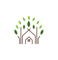 abstract house and leaf logo icon design template vector image