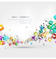 Abstract music background with notes and app icons vector