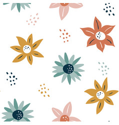 abstract seamless pattern with flowers and leaves vector image