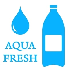 Aqua icon with bottle and water drop vector