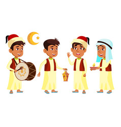 arab muslim boy schoolboy kid set child vector image