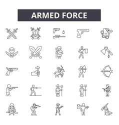 Armed force line icons signs set linear vector