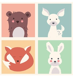 Bear deer fox and rabbit animal set vector