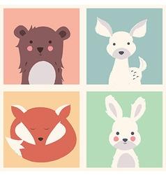 Bear deer fox and rabbit animal set vector image