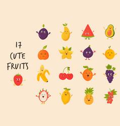 Big bundle cute fruits characters vector
