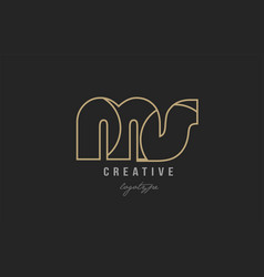 Black and yellow gold alphabet letter ms m s logo vector