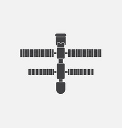 Black icon on white background space station vector