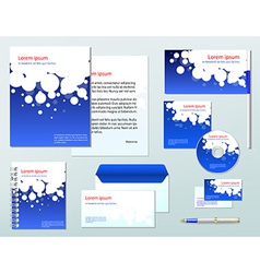 Blue corporate identity template company style vector
