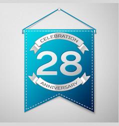 blue pennant with inscription twenty eight years vector image