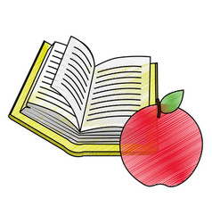 book and apple design vector image