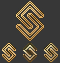 Bronze line science logo design set vector