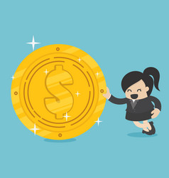 business woman with golden dollar vector image