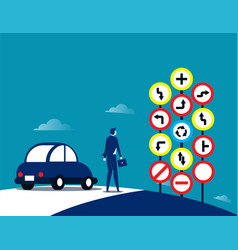 businessman and traffic signs concept traffic vector image