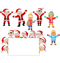 cartoon christmas children with blank sign vector image