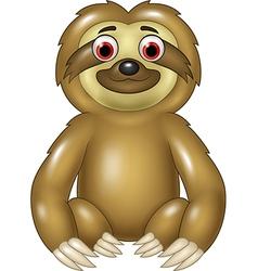 Cartoon funny sloth sitting isolated vector