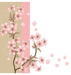 Cherry Tree Card with stylized blossom vector