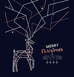 Christmas and new year copper outline deer card vector