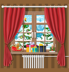 christmas landscape with forest in window vector image