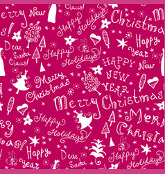 Christmas pattern with handwritten inscriptions vector