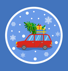 Christmas preparation car with presents and pine vector