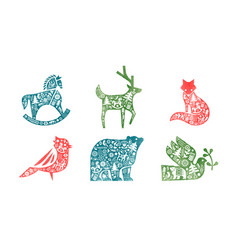 christmas watercolor retro scandinavian animal set vector image