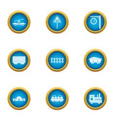 city railway station icons set flat style vector image