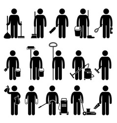 Cleaner man with cleaning tools and equipments vector
