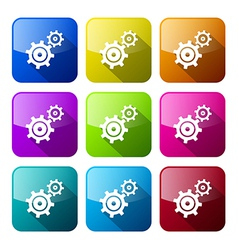Cogs - Gears Colorful Icons Set Isolated on White vector image