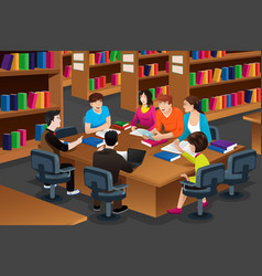 College students studying in the library vector