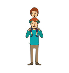 Color image caricature young father with boy on vector