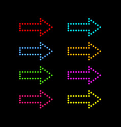 colored neon arrows on a black background vector image