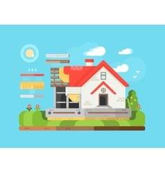 Construction of private houses flat vector image