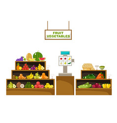 Counter with fruits supermarket vector